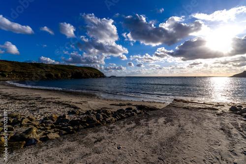 Canvas Cappuccino Coucher de soleil sur une plage de Bretagne