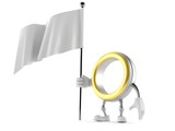 Wedding ring character holding blank flag