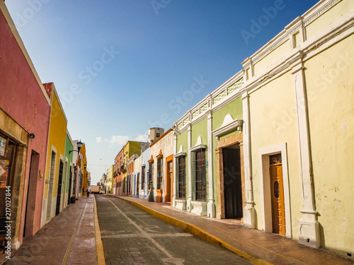 Spanish colonial style buildings in Mexico
