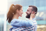 Happy couple dating in the city - 217032458