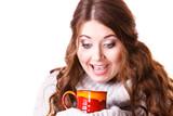 Woman holding red tea coffee mug - 217038679
