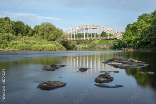 Obraz na płótnie Wylam Bridge, crossing the River Tyne in Northumberland