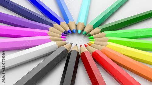 Kolorowe kredki ułożone w kółko