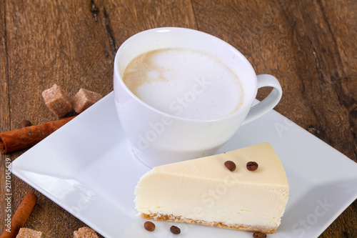 Wall mural Coffee with cheesecake