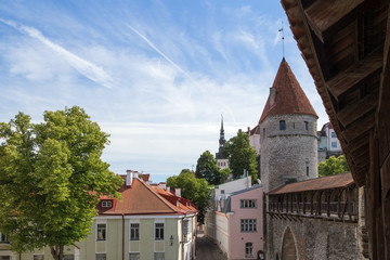 Old buildings, medieval city wall (or Town Wall or Walls of Tallinn) and towers at the Old Town in Tallinn, Estonia, on a sunny day in the summer.
