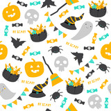Happy Halloween seamless pattern with cute elements. Vector hand drawn illustration. - 217049648