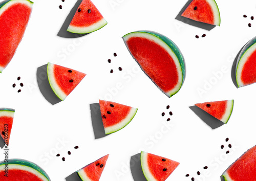 Sliced watermelons arranged on a white background - 217050253