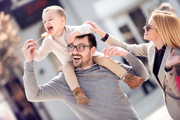 Happy family in the city