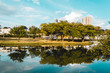 The trees of a park reflected on the water of a river, in the Ecological Park, in Indaiatuba, Brazil.