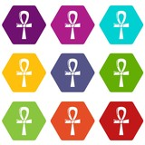 Egyptian ankh icons 9 set coloful isolated on white for web - 217054661
