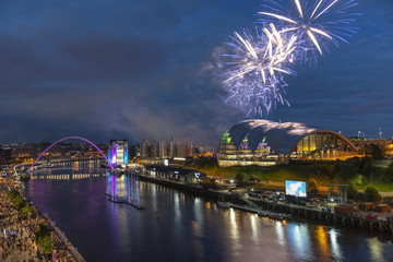 Fireworks display over the quayside in Newcastle, England © Michael Walker