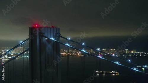 Obraz na płótnie Night aerial drone video Verrazano Bridge New York