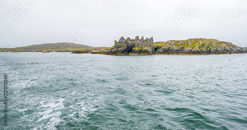 View of an irish island from the atlantic ocean in summer
