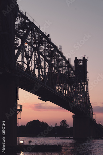 Aluminium Sydney Old Two Lane Vertical Lift Bridge Needing Repairs at Sunset