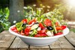 Leinwanddruck Bild - Photo of fresh salad with vegetables