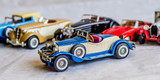 collection of old car model. replica of vintage car. collectible toys - 217072609