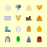 winter vector icons set. winter hat, figures, fir tree and penguin in this set