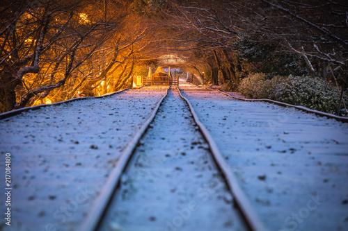 Foto Spatwand Spoorlijn 京都府 蹴上インクライン 雪景色