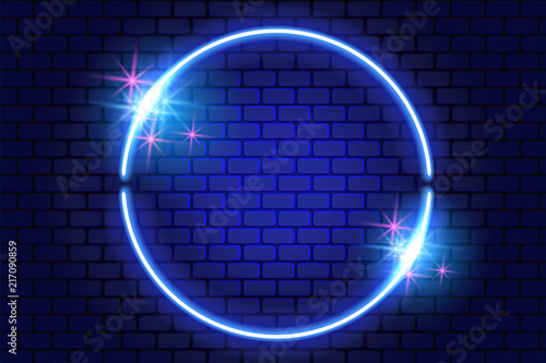 Neon round frame with sparkle stars on brick wall for decoration signboard