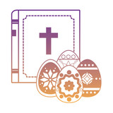 holy bible and easter eggs over white background, vector illustration