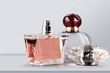 Leinwandbild Motiv Aromatic Perfume bottles on desk