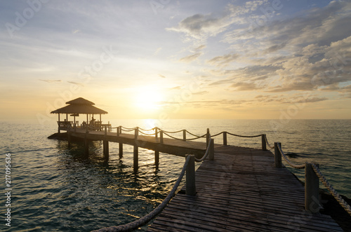 Plexiglas Thailand Wooden pier between sunset in Phuket, Thailand. Summer, Travel, Vacation and Holiday concept.