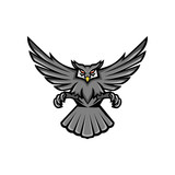 Horned Owl Swooping Front Mascot
