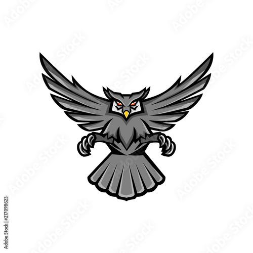 Fotobehang Uilen cartoon Horned Owl Swooping Front Mascot