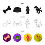 A bone, a fire hydrant, a bowl of food, a pissing dog.Dog set collection icons in black,flat,outline style vector symbol stock illustration web.