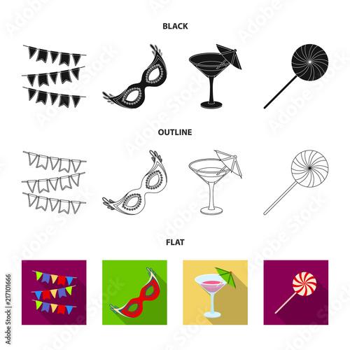 Girlandy, koktajl i inne akcesoria na party.Party i partits zestaw ikon kolekcji w stylu cartoon wektor symbol ilustracji sieci.