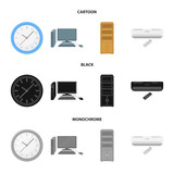 Clock with arrows, a computer with accessories for work in the office, a cabinet for storing business papers, air conditioning with remote control. Office Furniture set collection icons in cartoon