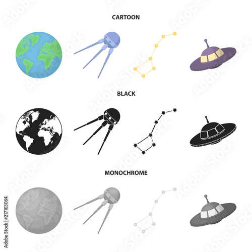 Planet Earth with continents and oceans, flying satellite, Ursa Major, UFO. Space set collection icons in cartoon,black,monochrome style vector symbol stock illustration web. - 217103064