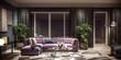 Modern interior design of living room, Taiwan, Taipei city skyline