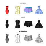 Women Clothing cartoon,black,monochrome icons in set collection for design.Clothing Varieties and Accessories vector symbol stock web illustration.