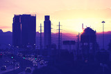 Vintage toned picture of downtown Las Vegas silhouette at sunset, USA.