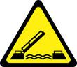 Leinwanddruck Bild - Yellow warning sign with drawbridge