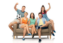 Entertainment Leisure And People Concept  Group Of Happy Smiling Friends Or Football Fans  Soccer Ball Sitting On Sofa Over   Sticker