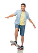 sport, leisure and skateboarding concept - smiling young man riding skateboard over white background
