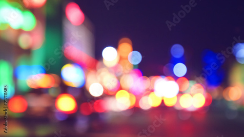Sticker Blurred city lights at night, color toning applied, Las Vegas, USA.