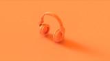 Orange Modern Headphones 3D illustration