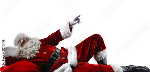 Leinwanddruck Bild Santa Claus and white space
