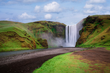 Skogafoss waterfall in Iceland in summer © Oleksandr Kotenko