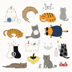 Set of cute funny color doodles of different cats. Isolated objects on white background. Hand drawn vector illustration. Line drawing. Design concept for poster, t-shirt, fashion print.