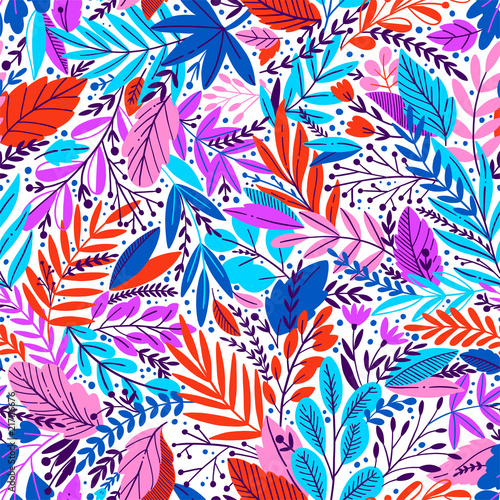 Bright tropical leaf seamless pattern. - 217116676