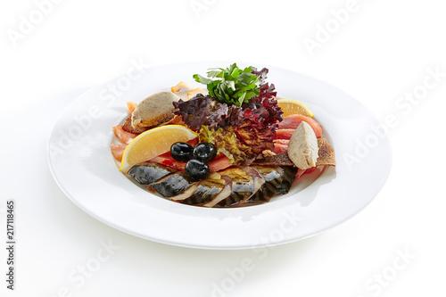 Leinwanddruck Bild Fish Delicacies Isolated on White Background