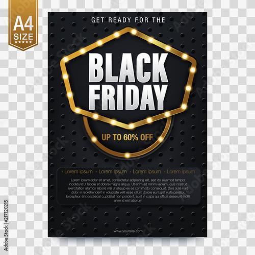 Czarny piątek sprzedaż, baner, plakat, logo. Luksusowy złoty i biały tekst