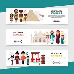 Flat Multiracial People Horizontal Banners