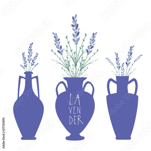 Bouquets Of Lavender In Three Types Of Ancient Mediterranean Style
