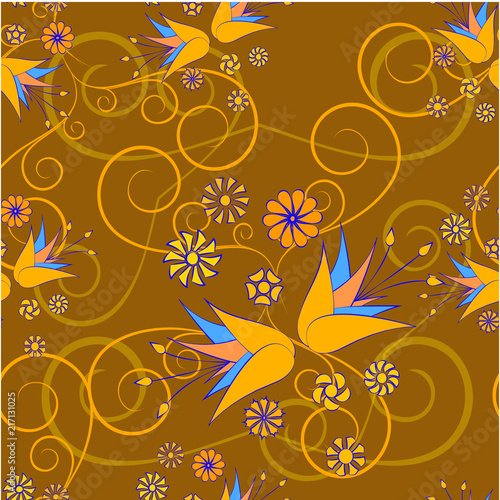 floral abstract ornament on a brown background - 217131025
