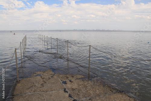 Aluminium Noordzee Auflaufendes Wasser verschlingt den Nordseestrand (Burhave, Butjadingen)